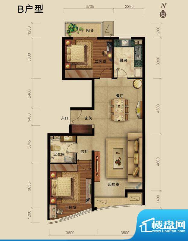 世藏168B户型 2室2厅1卫1厨面积:103.00平米