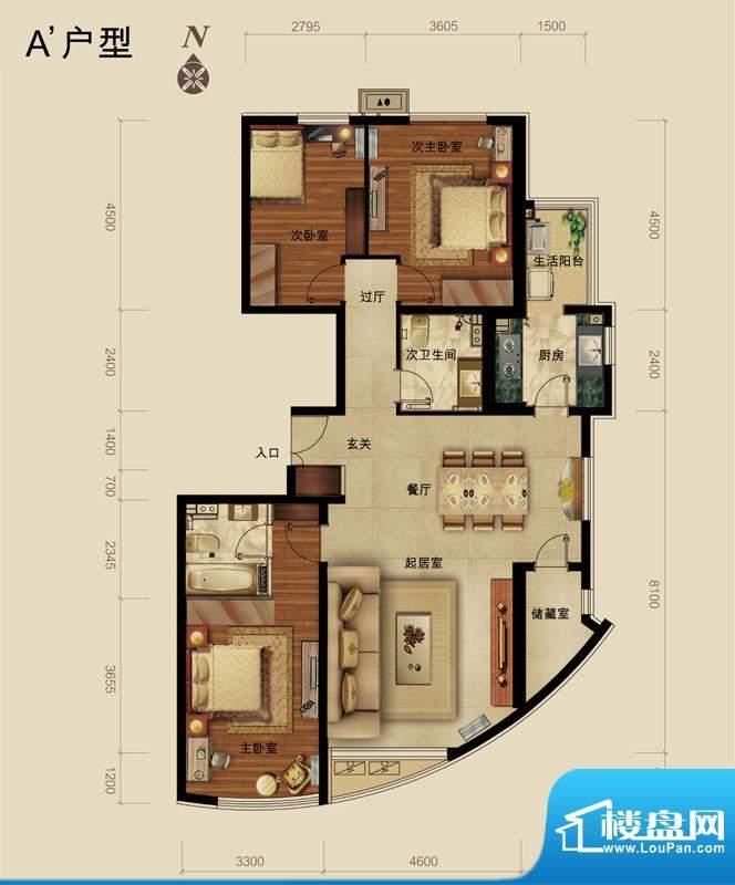 世藏168A`户型 3室2厅2卫1厨面积:147.00平米
