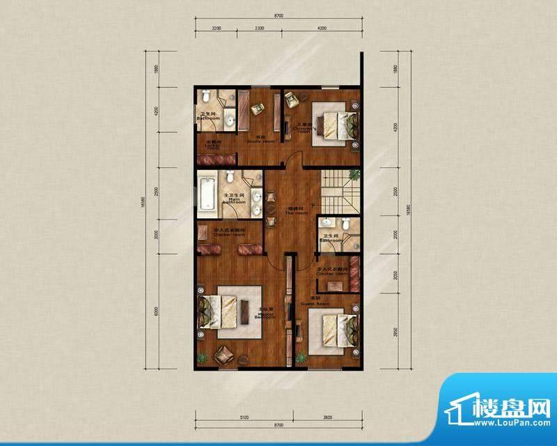 蓝岸丽舍·墅里D1二层户型图 3