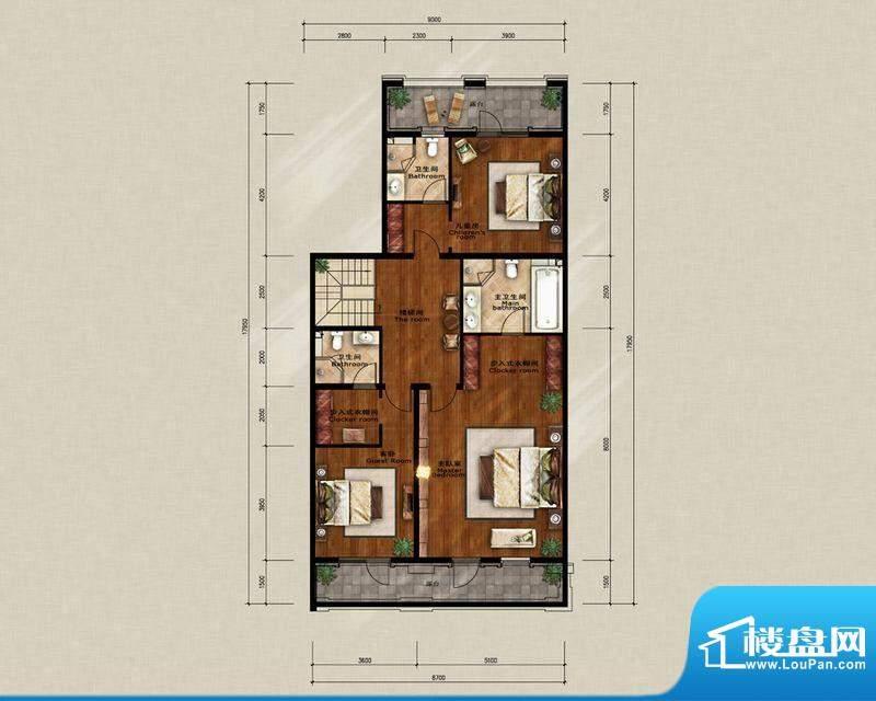 蓝岸丽舍·墅里D2二层户型图 3
