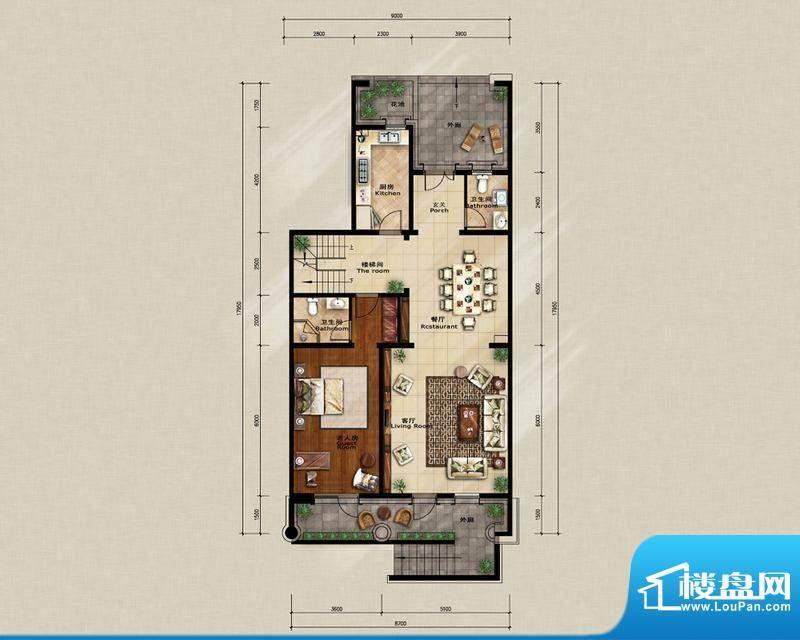蓝岸丽舍·墅里D2一层户型图 3