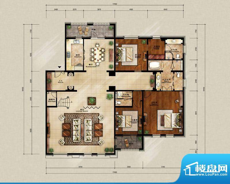 蓝岸丽舍·墅里F1户型图 3室2厅