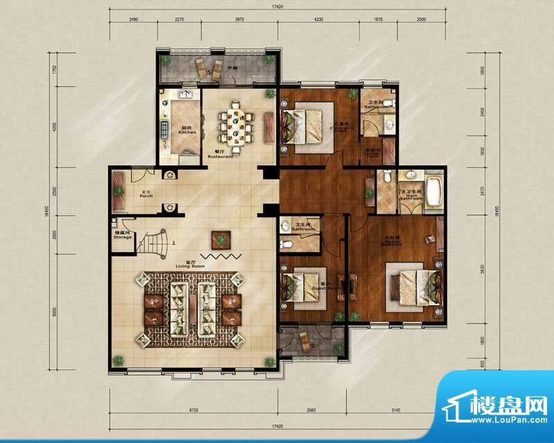 蓝岸丽舍·墅里F2户型图 3室2厅