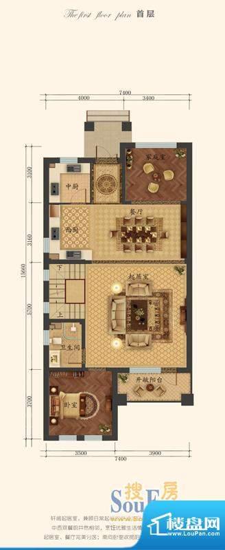 彼岸香醍二期B户型首层 1室2厅