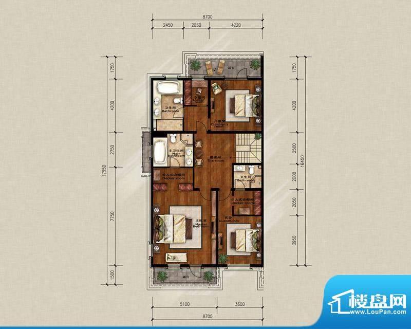 蓝岸丽舍·墅里A1二层户型图 3