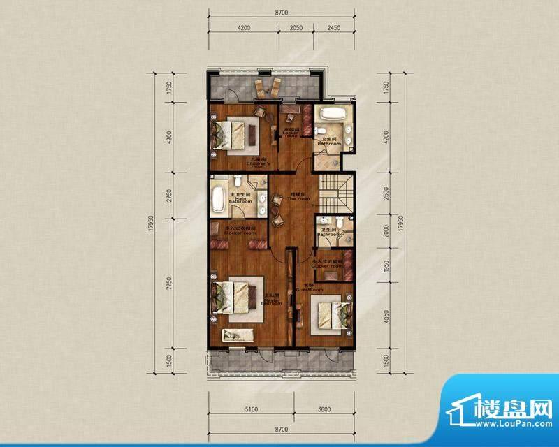 蓝岸丽舍·墅里A2二层户型图 3