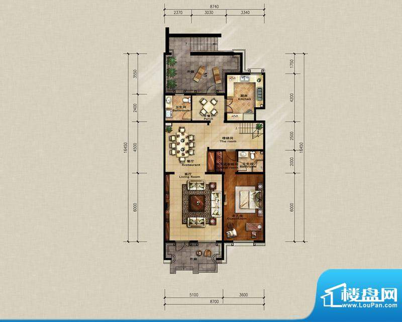 蓝岸丽舍·墅里A2一层户型图 3