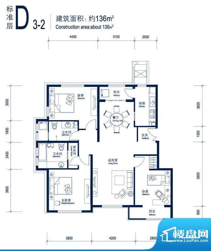 北京城建徜徉集D3-2户型图 3室面积:136.00平米