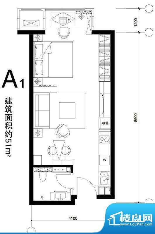 正源广场A1户型 1室1卫1厨面积:51.00平米
