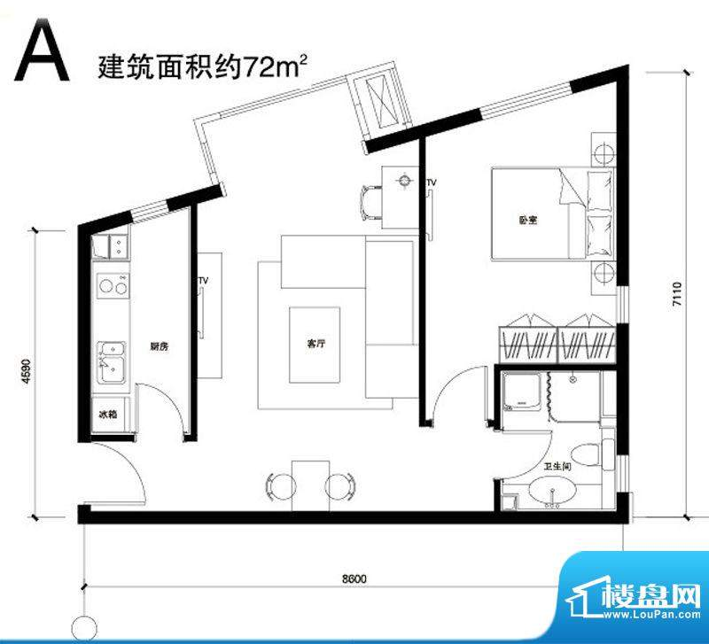 正源广场A户型 1室1厅1卫1厨面积:72.00平米