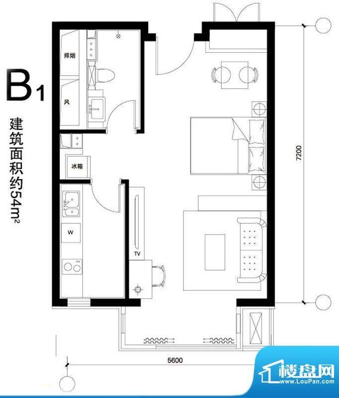 正源广场B1户型 1室1卫1厨面积:54.00平米