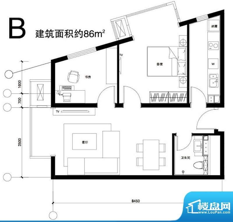 正源广场B户型 2室1厅1卫1厨面积:86.00平米