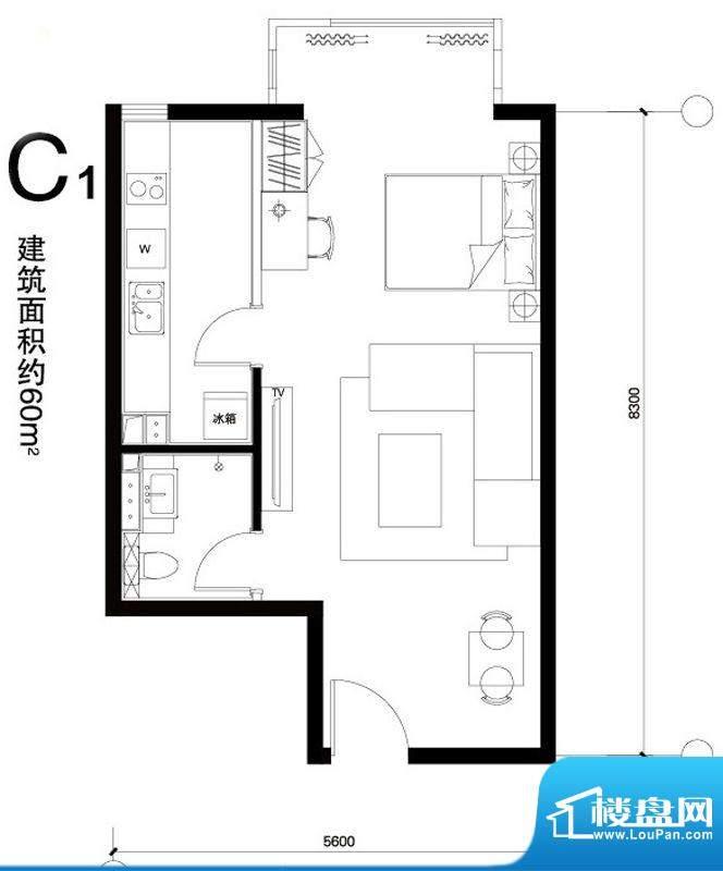 正源广场C1户型 1室1卫1厨面积:60.00平米