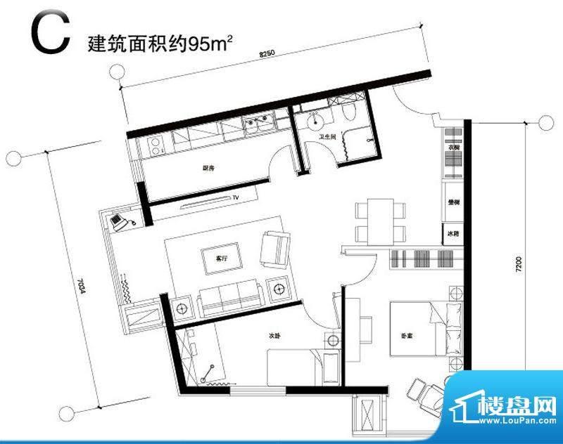 正源广场C户型 2室1厅1卫1厨面积:95.00平米