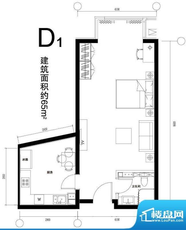 正源广场D1户型 1室1厅1卫1厨面积:65.00平米