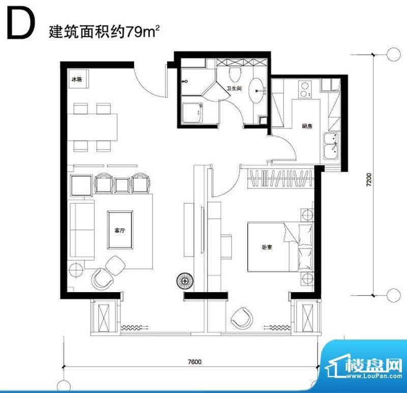 正源广场D户型 1室1厅1卫1厨面积:79.00平米