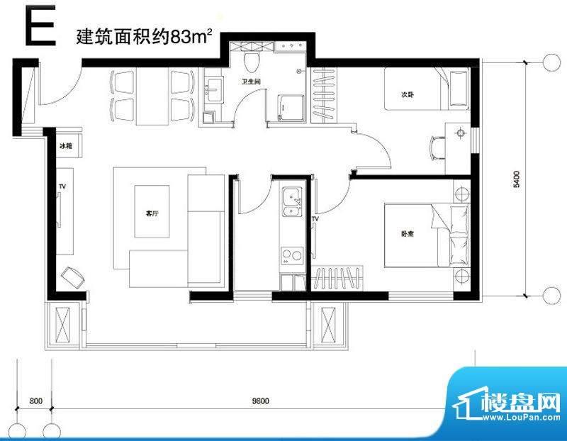 正源广场E户型 2室1厅1卫1厨面积:83.00平米