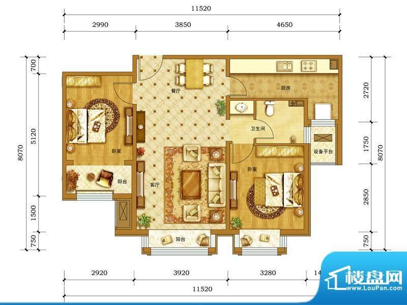 鲁能7号院·溪园B1户型图 2室2面积:88.00平米