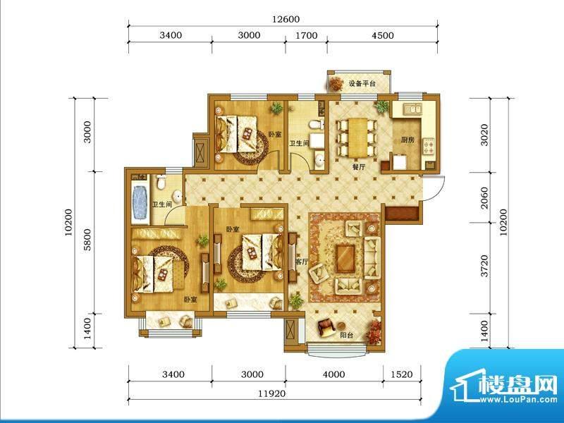 鲁能7号院·溪园A1户型图 3室2面积:118.00平米