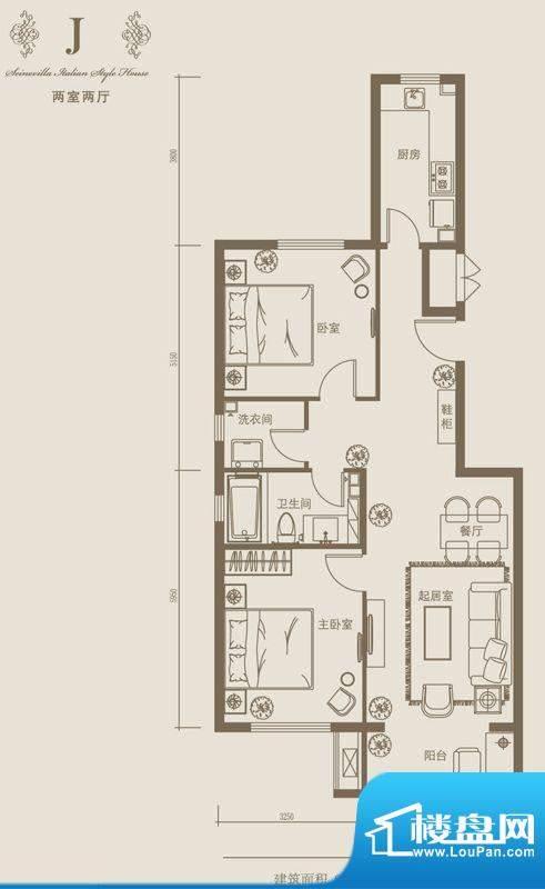 塞纳维拉·永定华庭J户型图 2室面积:90.98平米