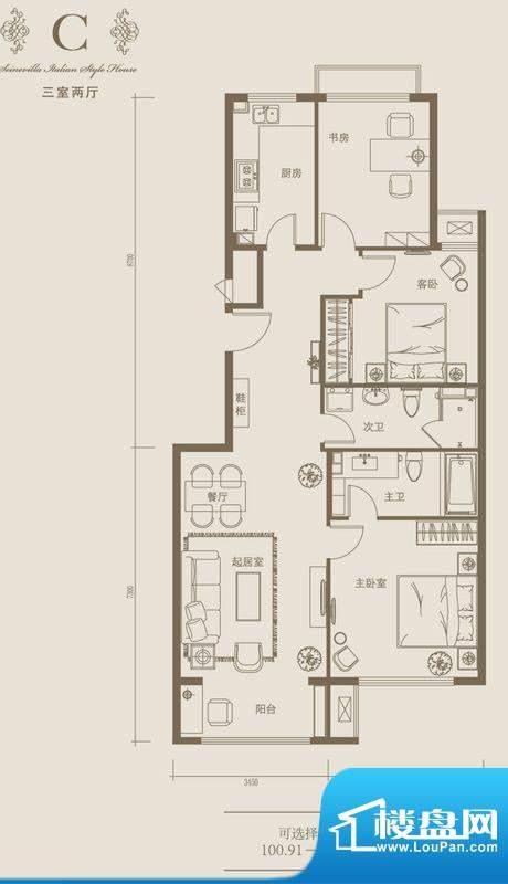 塞纳维拉·永定华庭C户型图 3室面积:100.91平米