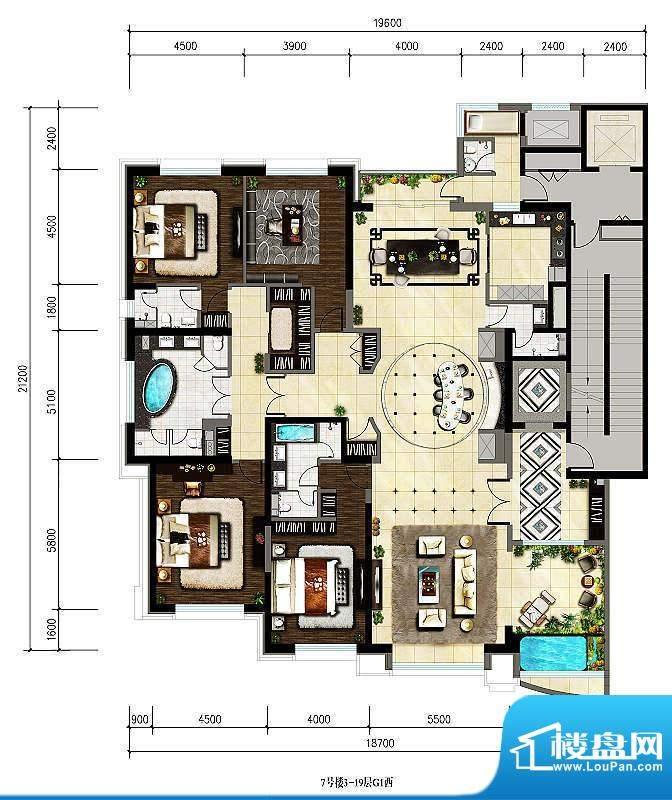 紫御华府3-19层G1西户型 4室4厅面积:344.75平米