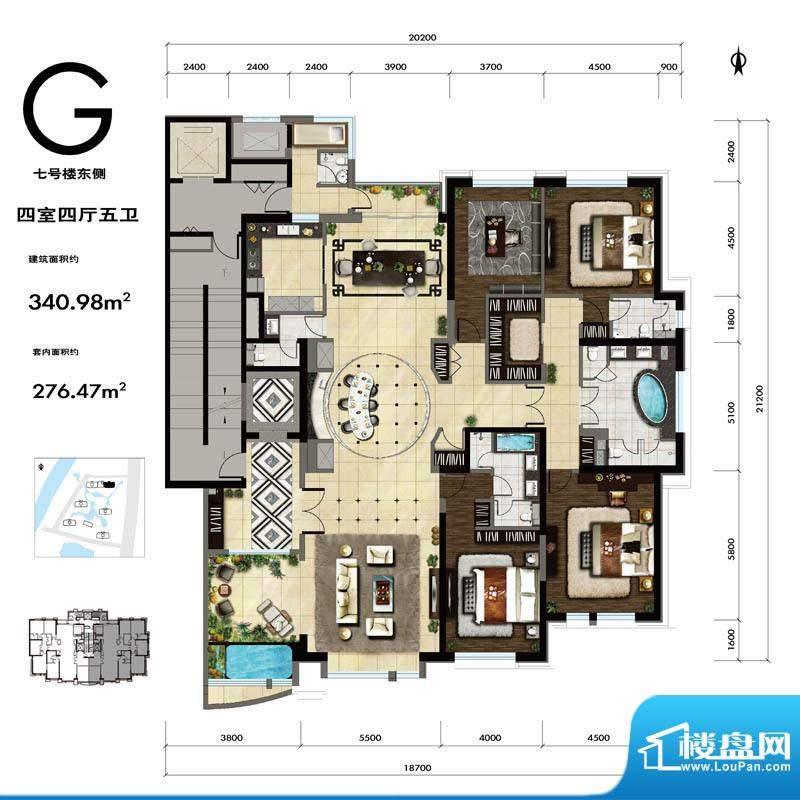 紫御华府G户型 4室4厅5卫1厨面积:340.00平米