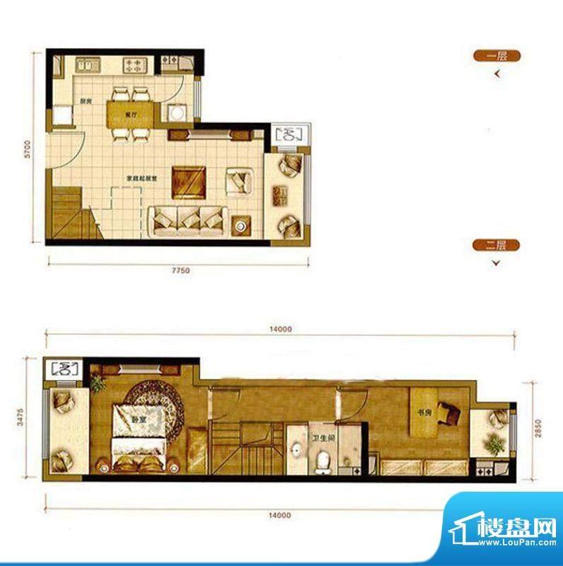 龙湖·时代天街两居户型图 2室面积:85.00平米
