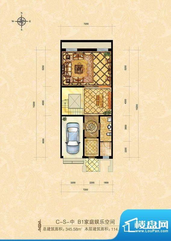 中海尚湖世家CS中-1家庭娱乐层面积:114.11平米