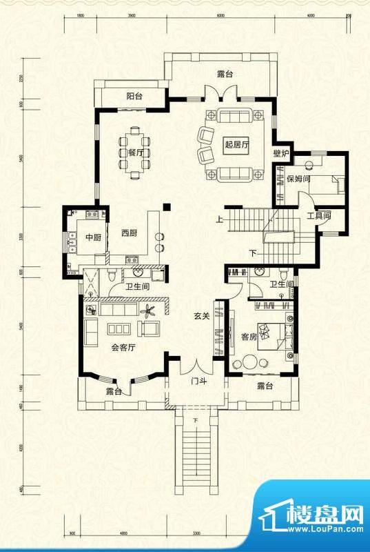 拉斐水岸D17二层户型图 10室4厅面积:203.67平米
