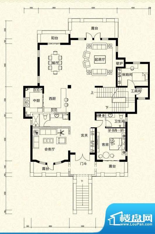 拉斐水岸D18二层户型图 12室4厅面积:203.67平米