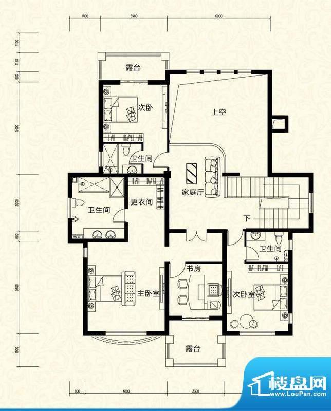 拉斐水岸D18三层户型图 12室4厅面积:151.12平米