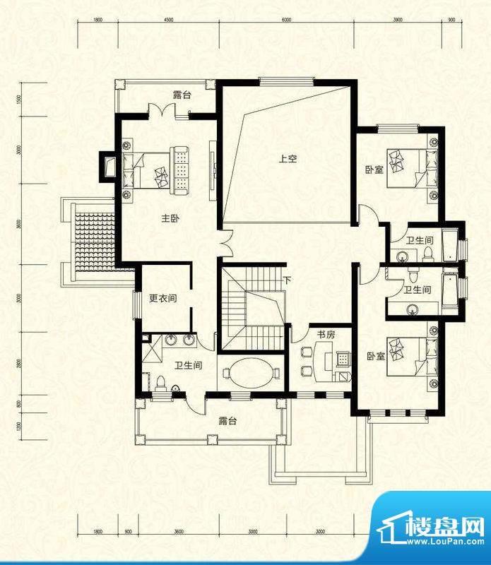 拉斐水岸D25三层户型图 15室3厅面积:159.36平米