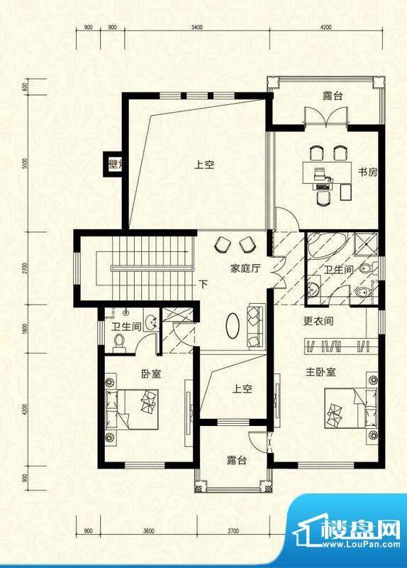 拉斐水岸D30三层户型图 9室5厅面积:108.71平米