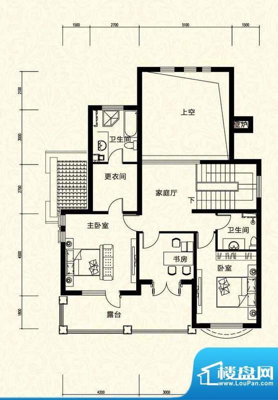 拉斐水岸D1三层户型图 10室3厅面积:95.38平米