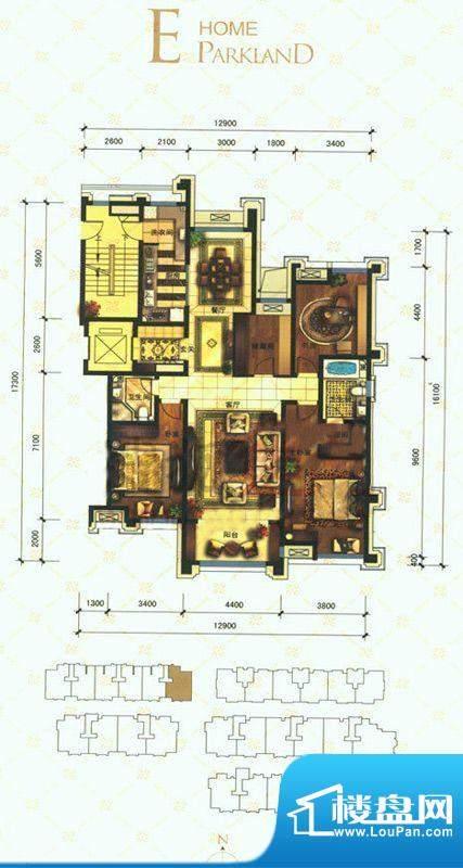 华润公元九里E户型图 3室2厅2卫面积:177.00平米