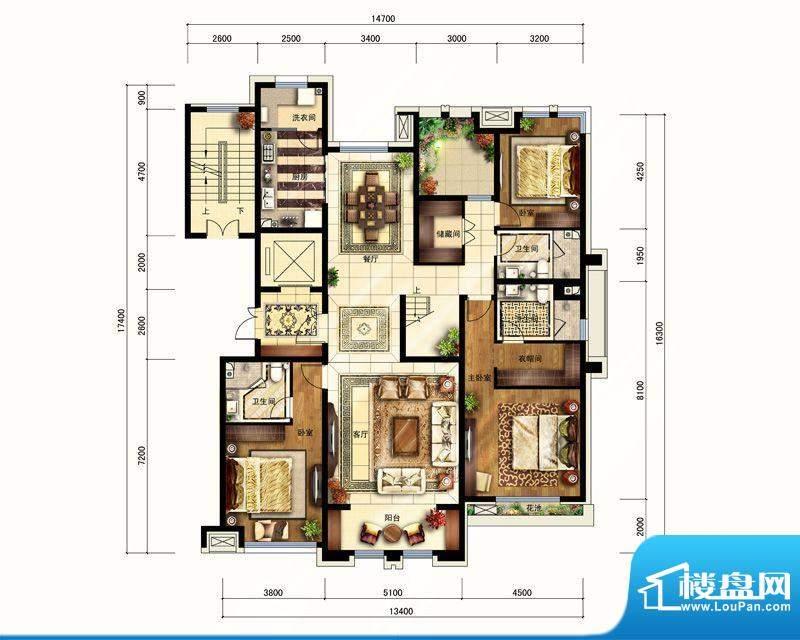 华润公元九里F十五层户型图 4室面积:284.00平米