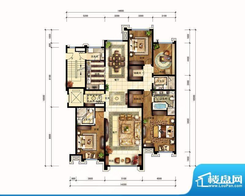 华润公元九里D户型图 4室2厅3卫面积:219.00平米