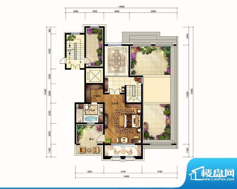 华润公元九里F顶层户型图 4室2面积:284.00平米