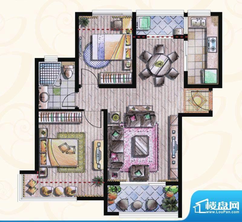 贝尚湾二期D-1户型图 2室2厅1卫面积:88.00平米