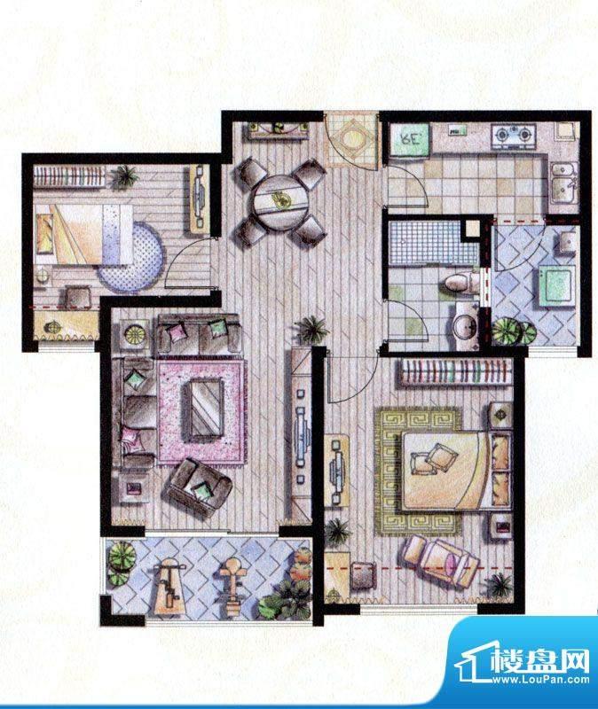 贝尚湾二期B-1户型图 2室2厅1卫面积:87.00平米