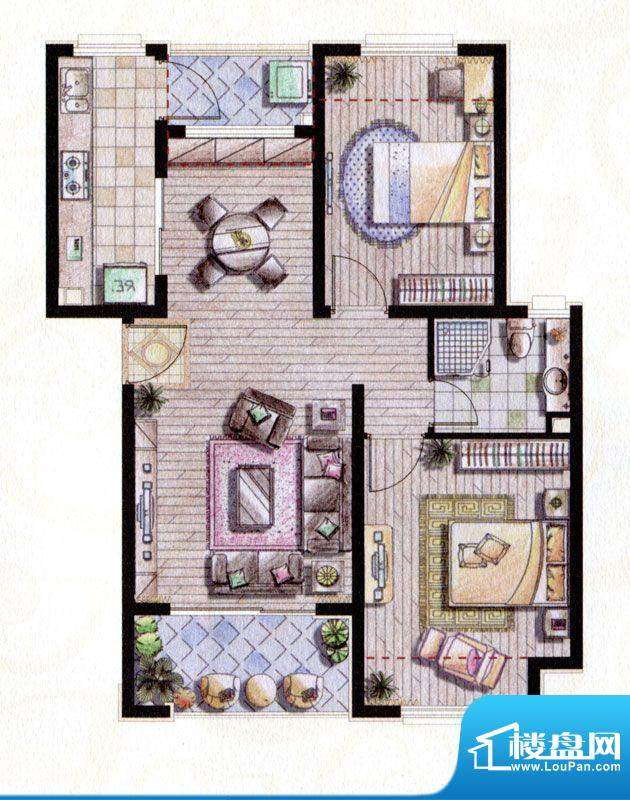 贝尚湾二期B-2户型图 2室2厅1卫面积:88.00平米