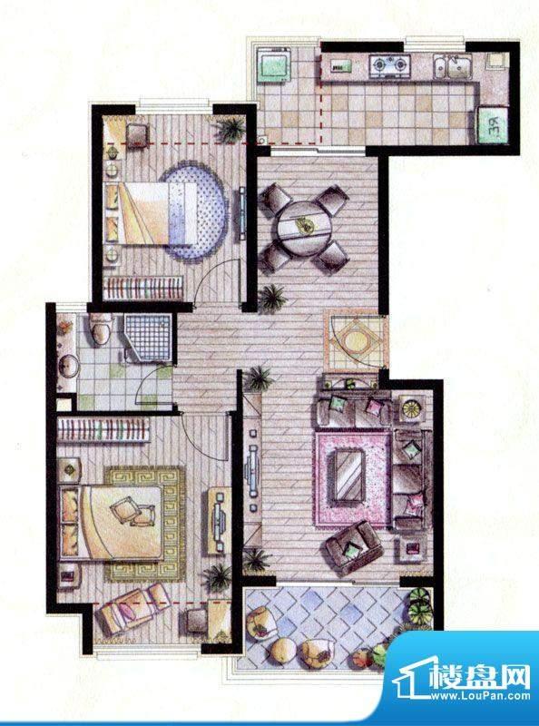 贝尚湾二期B-3户型图 2室2厅1卫面积:87.00平米