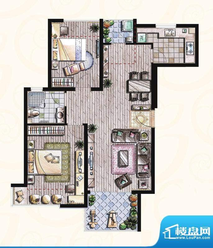 贝尚湾二期A-1户型图 2室2厅1卫面积:89.00平米