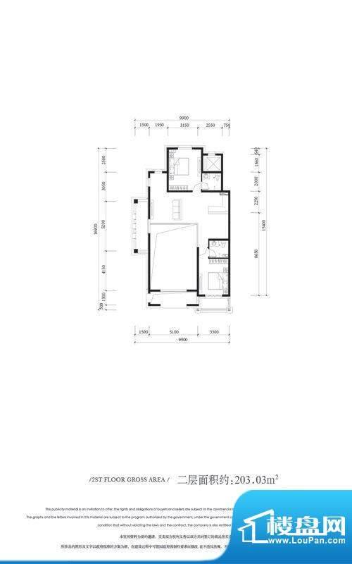 金科王府叠墅二层户型 2室1厅2面积:203.03平米