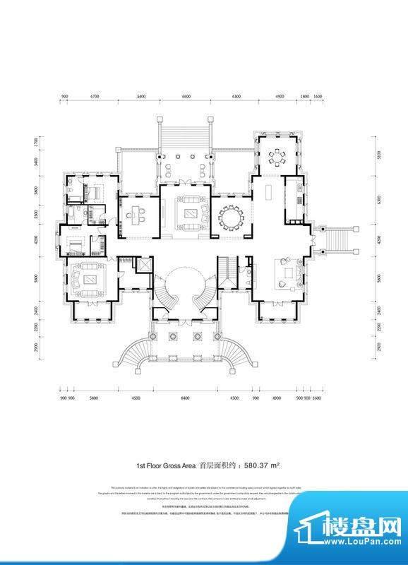 金科王府首层户型图 1室3厅1卫面积:580.37平米