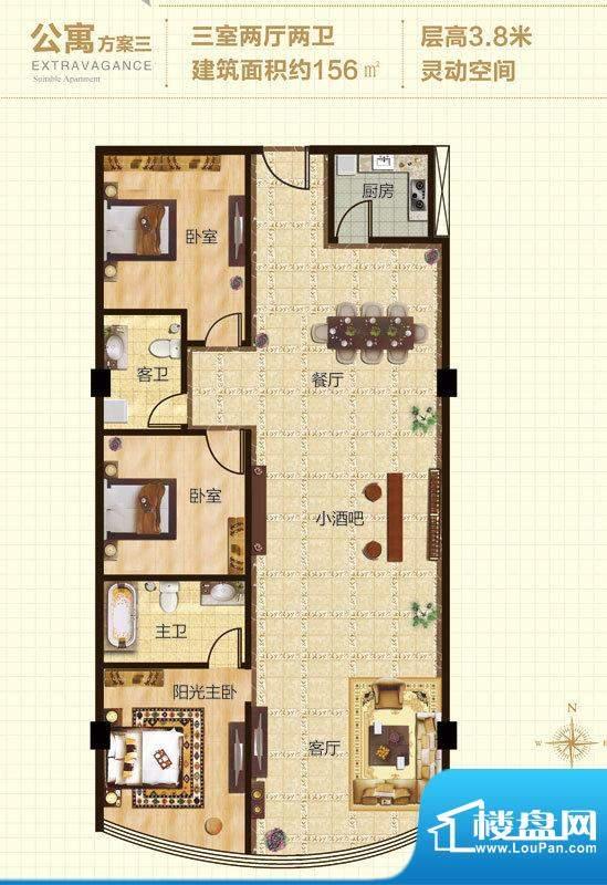 朝青汇B户型 3室2厅2卫1厨面积:156.00平米