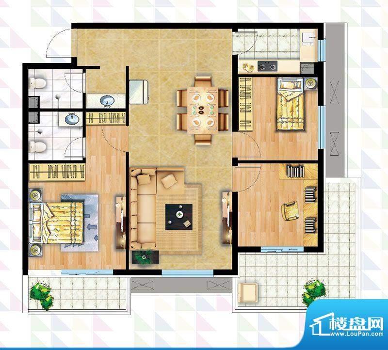 时代广场B-4反户型 3室2厅2卫1面积:121.63平米