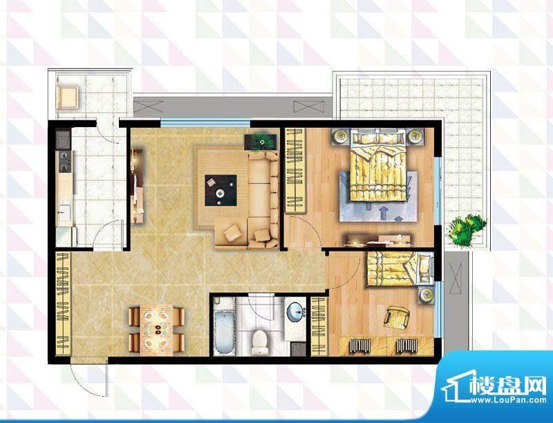 时代广场B-1反户型 2室2厅1卫1面积:92.51平米