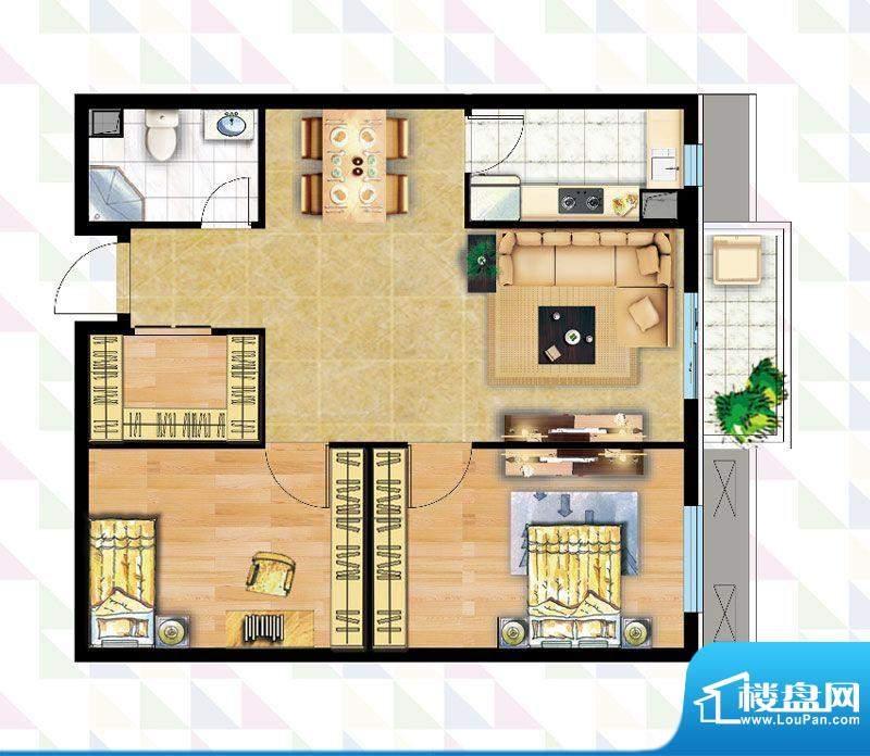 时代广场B-3反户型 2室2厅1卫1面积:85.19平米
